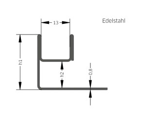 AQUA-GLAS Edelstahl, weiss matt pulverlackbeschichtet, 8mm, 2,5m